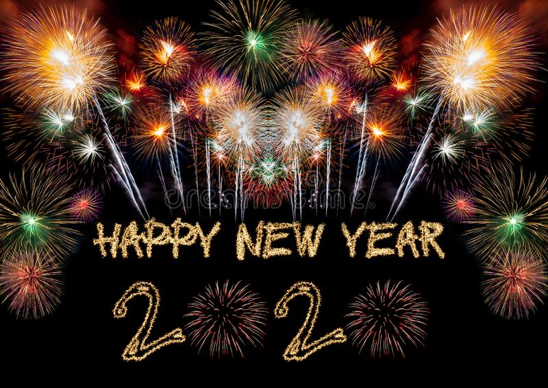 Happy New Year 2020. Sparklers firework stock image