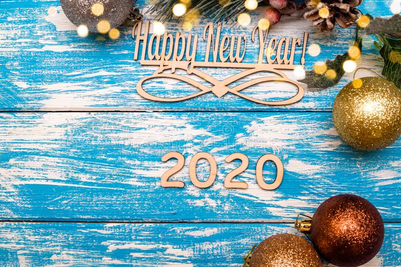 Happy new year 2020. On wooden blue background royalty free stock image