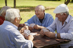 Active seniors, group of old friends playing cards at park Stock Photos