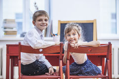 Boy, girl children in the school has a happy, curious, smart Stock Photo